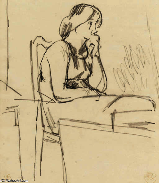 Study of vanessa bell by Duncan Grant (1885-1978, Scotland)