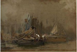 Edward Duncan - The fishing fleet in harbour