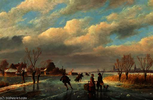 A rendez-vous on the frozen waterway by Nicolaas Johannes Roosenboom (1805-1880, Netherlands) | Art Reproduction | ArtsDot.com