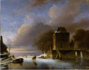 Nicolaas Johannes Roosenboom - Skaters on a frozen river with a koek en zopie by a mansion
