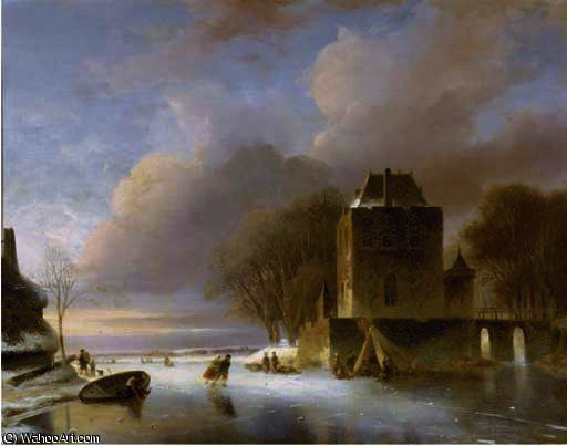 Skaters on a frozen river with a koek en zopie by a mansion by Nicolaas Johannes Roosenboom (1805-1880, Netherlands) | Museum Art Reproductions | ArtsDot.com