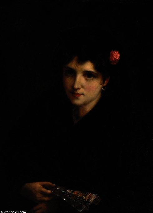 Portrait of a spanish beauty by William Oliver (1805-1853, United Kingdom) | ArtsDot.com