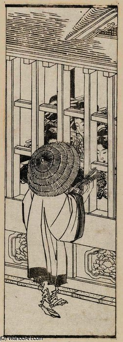 A man outside the barred windows of a brothel by Katsushika Hokusai (1760-1849, Japan) | Museum Art Reproductions | ArtsDot.com