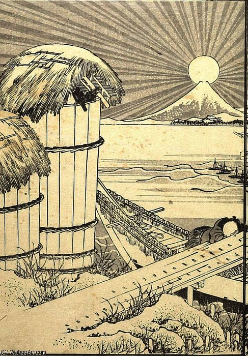 Fuji as a Mirror Stand by Katsushika Hokusai (1760-1849, Japan) | Art Reproduction | ArtsDot.com