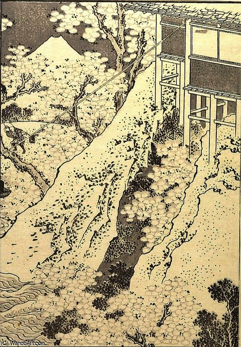 Fuji through Flowers by Katsushika Hokusai (1760-1849, Japan) | Museum Art Reproductions | ArtsDot.com