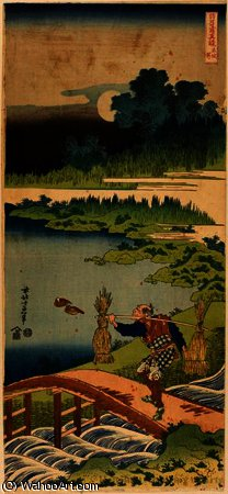 Peasant carrying rushes by Katsushika Hokusai (1760-1849, Japan) | Museum Art Reproductions | ArtsDot.com