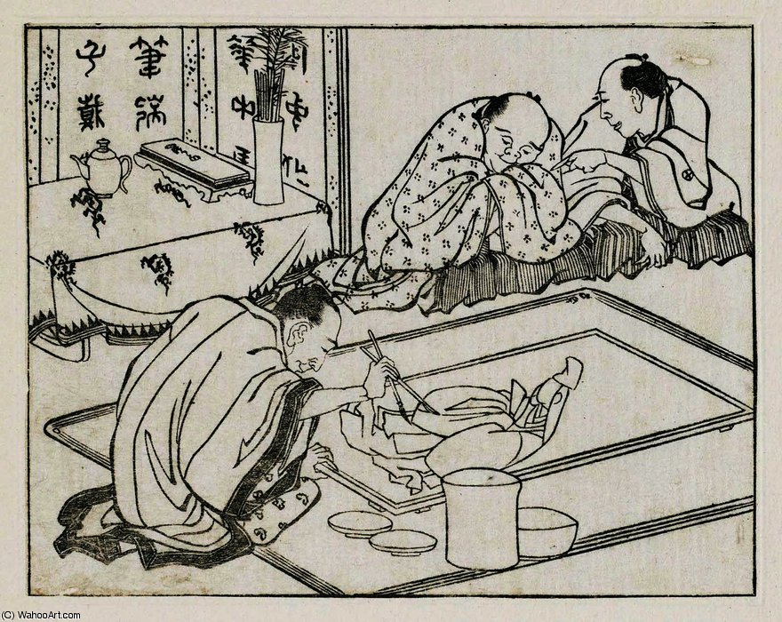 Sculptors working at a huge wooden lion by Katsushika Hokusai (1760-1849, Japan)