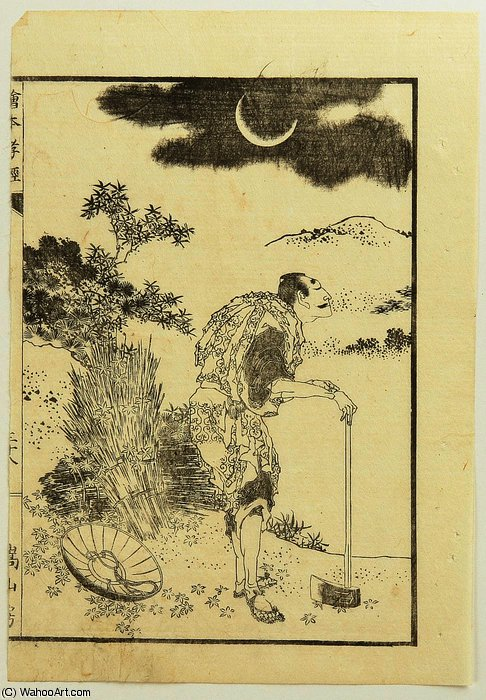Wood Cutter and the Moon by Katsushika Hokusai (1760-1849, Japan) | Art Reproduction | ArtsDot.com