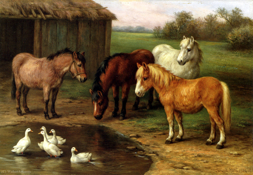 Ponies by a pond by Edgar Hunt