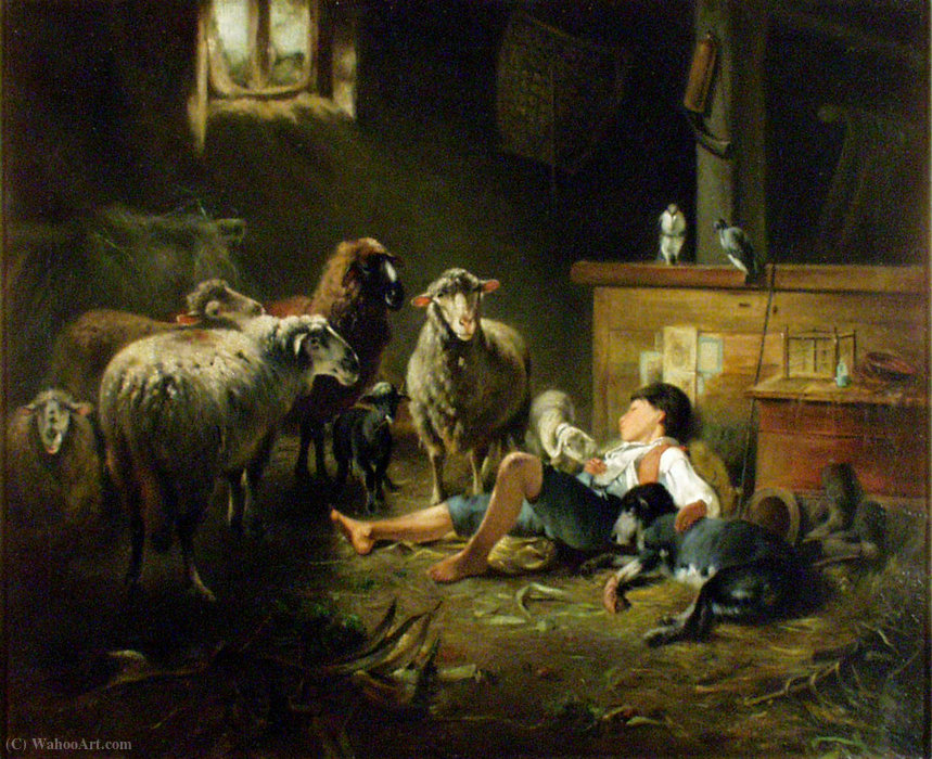 Shepherd by Friedrich Otto Gebler | Oil Painting | ArtsDot.com