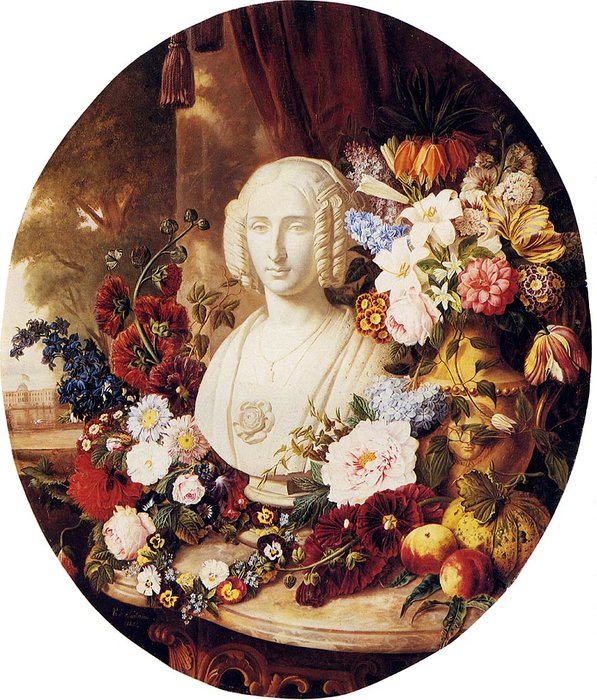 A still life with assorted flowers fruit and a marble bust of a woman by Virginie De Sartorius