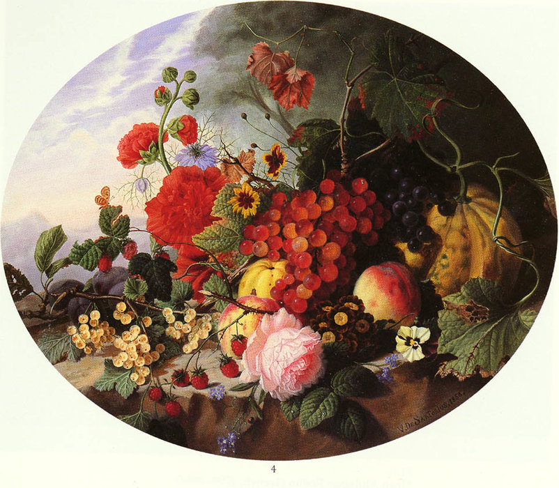 Still life with fruit and flowers on a rocky ledge by Virginie De Sartorius