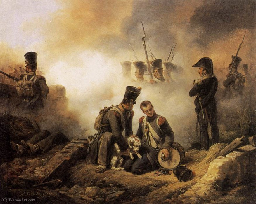 The Dog of the Regiment Wounded by Emile Jean Horace Vernet (1789-1863, France) | Art Reproduction | ArtsDot.com