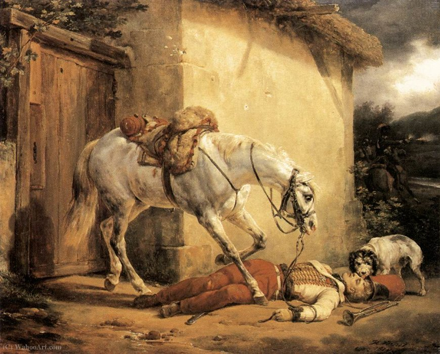 The wounded trumpeter by Emile Jean Horace Vernet (1789-1863)