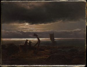 Johan Christian Clausen Dahl - Mother and Child by the Sea (1830)