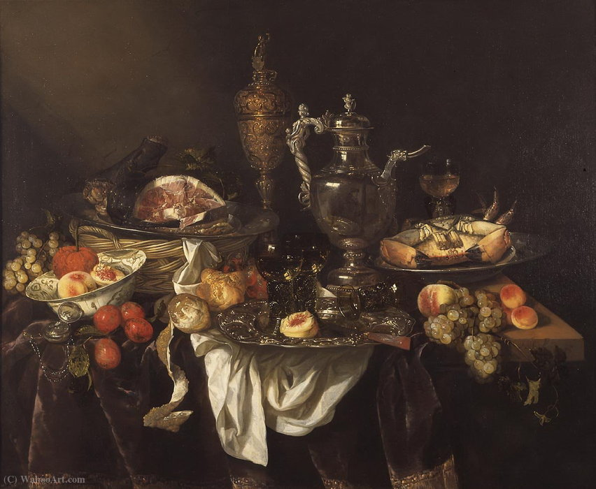 Banquet (about (99.5 x 120.5) (The Hague, the Royal Gallery Mauritshuis) (1655)) by Abraham Hendriksz Van Beijeren (1620-1690, Netherlands) | Painting Copy | ArtsDot.com