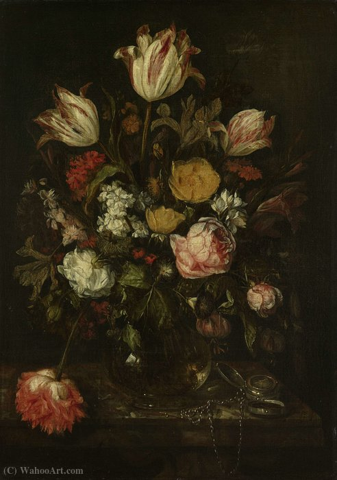 Bouquet of flowers in a glass vase (1650) (64 x 46) (Amsterdam, The State Museum) by Abraham Hendrickz. Van Beyeren