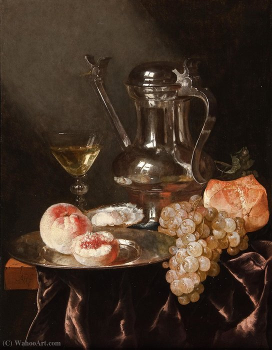 Still life with a pewter jug (49.2 x 37.2) (private collection) by Abraham Hendriksz Van Beijeren (1620-1690, Netherlands)