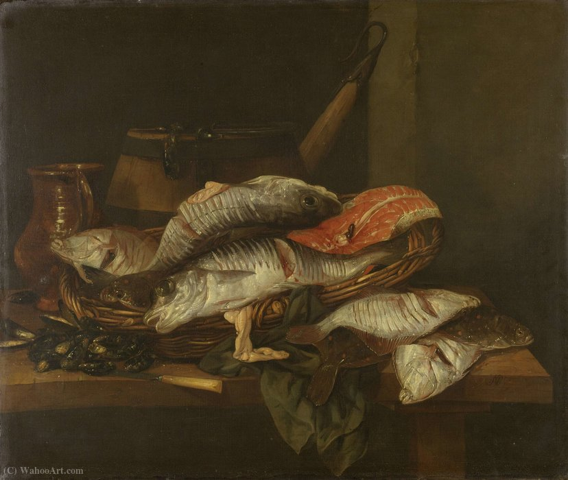 Still life with Fish (1650) (74 x 87) (Amsterdam, The State Museum) by Abraham Hendriksz Van Beijeren (1620-1690, Netherlands) | Museum Quality Reproductions | ArtsDot.com