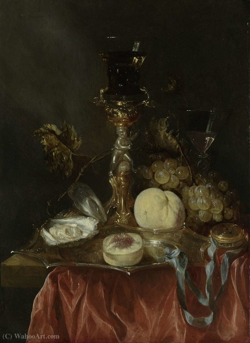 Still life with gilt stand and Jug (1640) (50.2 x 36.3) (Amsterdam, The State Museum) by Abraham Hendriksz Van Beijeren (1620-1690, Netherlands) | ArtsDot.com