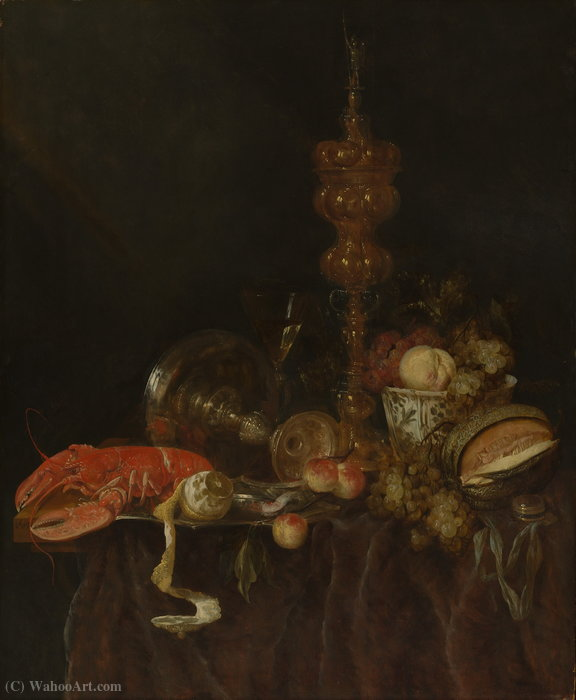 Still life with Lobster and Fruit (1650s) (96.5 x 78.7) (New York, Metropolitan) by Abraham Hendrickz. Van Beyeren