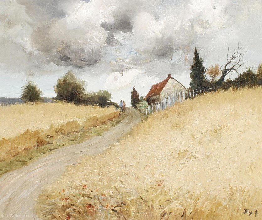 A Couple on a Country Lane by Marcel Dyf (1899-1985, France)