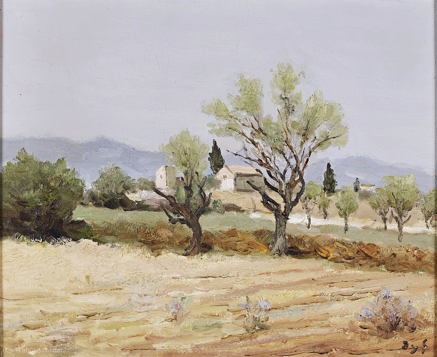 Almond Trees and the Tower of Egalieres by Marcel Dyf (1899-1985, France)
