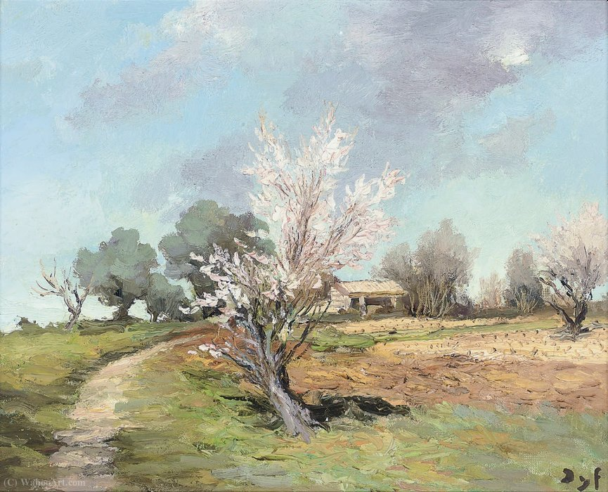 Almond trees flowering, (1970) by Marcel Dyf (1899-1985, France)