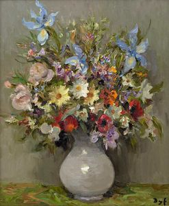 Marcel Dyf - Anemones and Irises