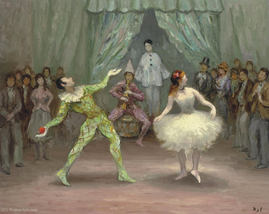 Arlequin and Colombine, (1978) by Marcel Dyf (1899-1985, France) | Painting Copy | ArtsDot.com