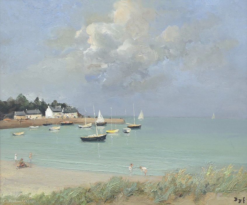 Beach of Port Navelo, Brittany by Marcel Dyf (1899-1985, France)