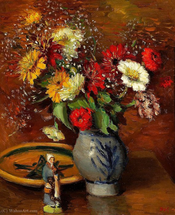 Bouquet of Flowers with Statuette by Marcel Dyf (1899-1985, France)