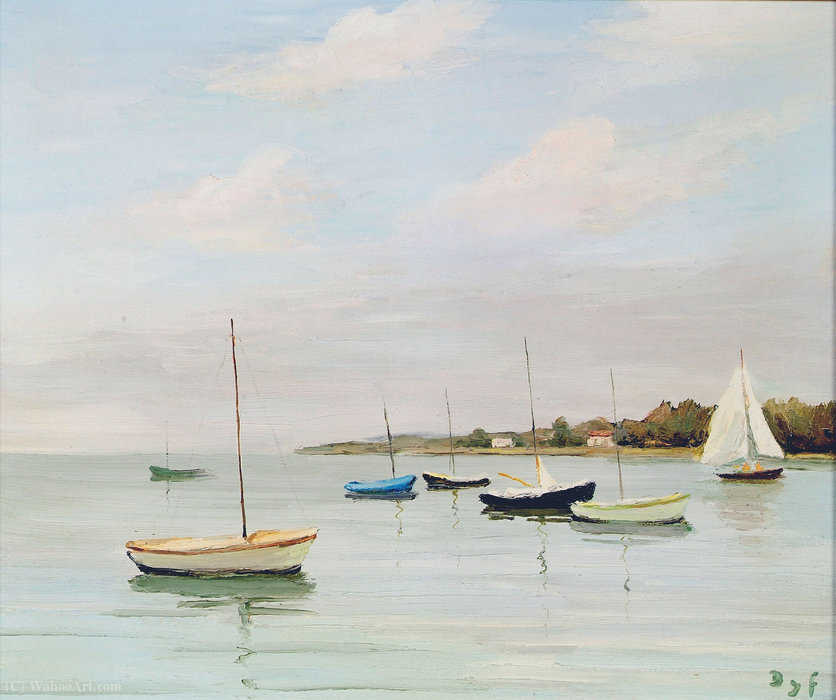Calm Waters at Logeo, Brittany by Marcel Dyf (1899-1985, France)
