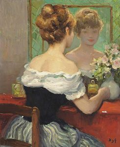 Marcel Dyf - Claudine by the Mirror, (1971)