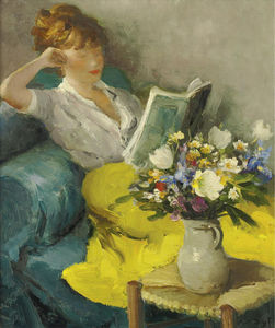 Marcel Dyf - Claudine reading, (1957)