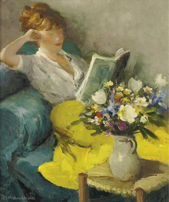Claudine reading, (1957) by Marcel Dyf (1899-1985, France)