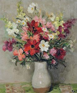 Marcel Dyf - Dahlias and Cosmos, (1967)
