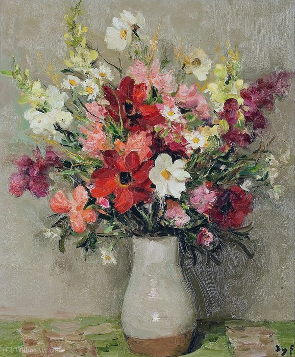 Dahlias and Cosmos, (1967) by Marcel Dyf (1899-1985, France) | Museum Art Reproductions | ArtsDot.com