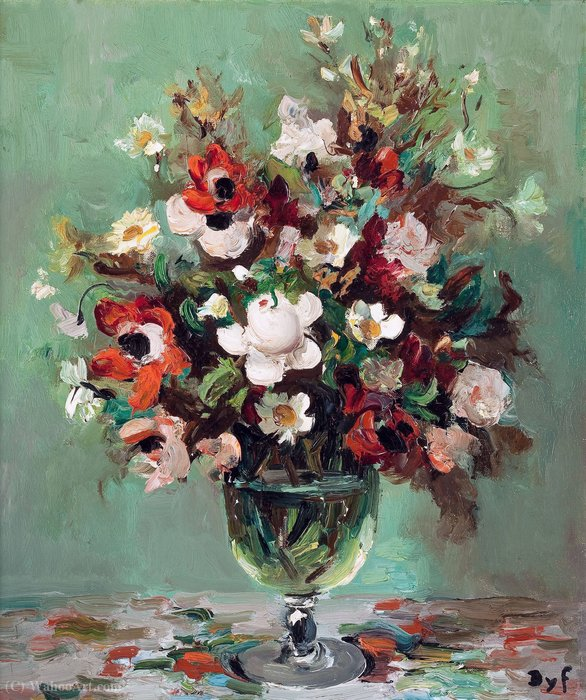 Floral still life by Marcel Dyf (1899-1985, France)