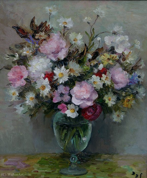 Flowers in a Glass Pot by Marcel Dyf (1899-1985, France) | Museum Quality Reproductions | ArtsDot.com