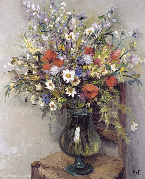 Flowers in a Glass Vase, (1960) by Marcel Dyf (1899-1985, France) | Museum Art Reproductions | ArtsDot.com