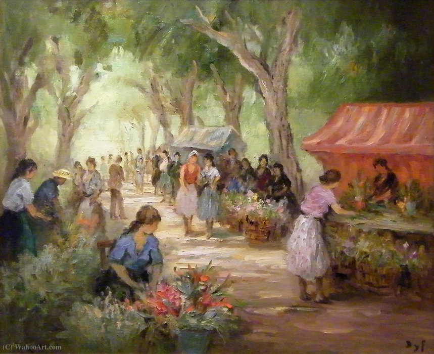 Flowers market by Marcel Dyf (1899-1985, France) | Art Reproduction | ArtsDot.com