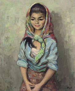 Marcel Dyf - Gypsy Girl in a Shawl, (1964)