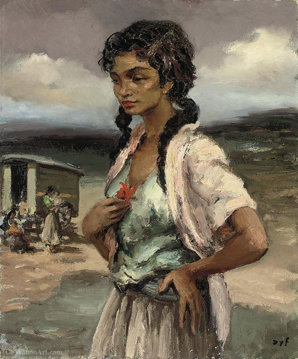 Gypsy with a Flower, (1950) by Marcel Dyf (1899-1985, France)