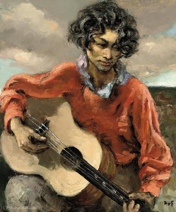 Gypsy with Guitar, (1950) by Marcel Dyf (1899-1985, France) | Museum Quality Reproductions | ArtsDot.com