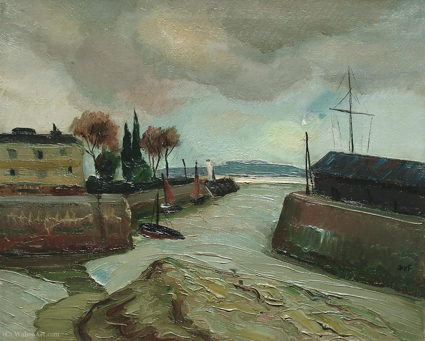 Harbour scene by Marcel Dyf (1899-1985, France) | Painting Copy | ArtsDot.com