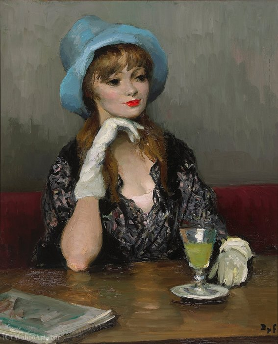 Jacqueline in a Blue Hat, (1967) by Marcel Dyf (1899-1985, France)
