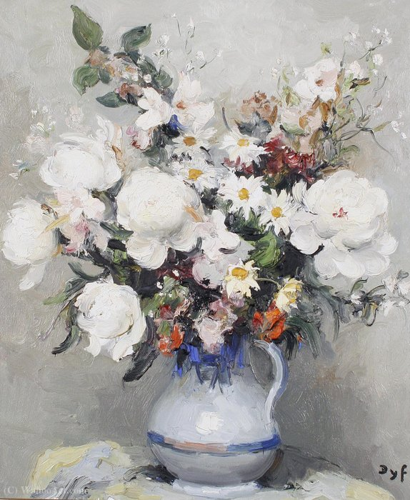 Buy Museum Art Reproductions : Mixed Flowers in a Jug by Marcel Dyf (1899-1985, France) | ArtsDot.com
