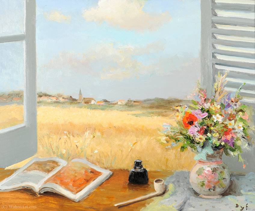 Opened window by Marcel Dyf (1899-1985, France)