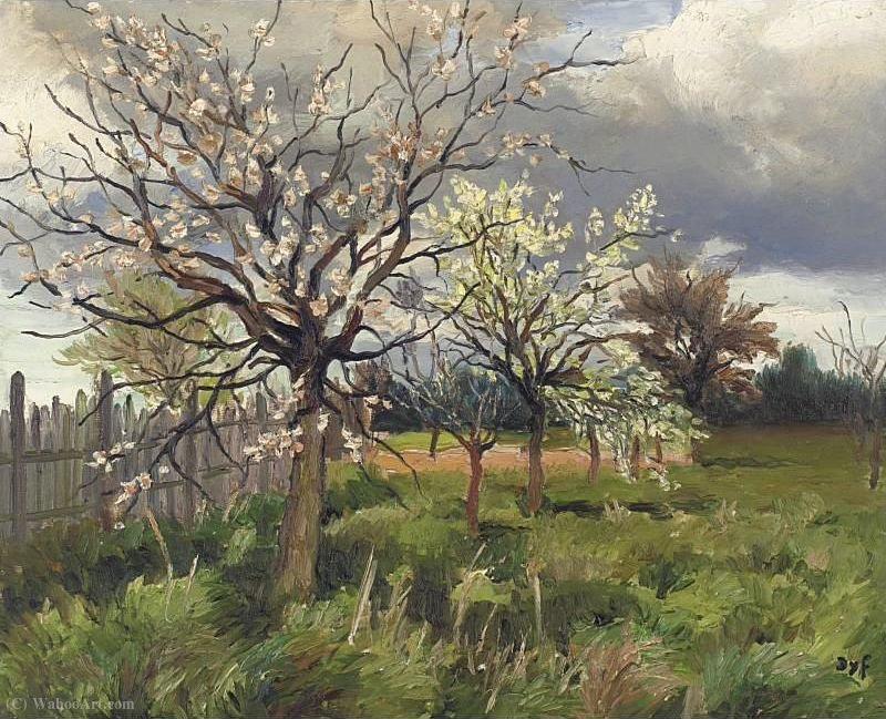 Orchard in Spring, (1975) by Marcel Dyf (1899-1985, France) | Painting Copy | ArtsDot.com